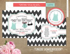 Lingerie Shower Invitations - Bridal Shower - Something sweet, silly, sexy, frilly - Chevron Ikat - Sticker Add Ons