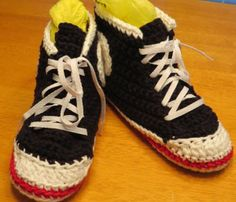 Crocheted High Top Tennis Shoe Slippers.
