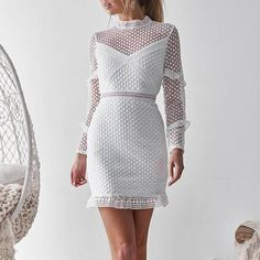 Bodycon Dress - Sexy Lace Hollow Out Long Sleeve Bodycon Dress Mini Dresses Source by - Cheap Dresses, Sexy Dresses, Mini Dresses, Glam Dresses, Fashion Dresses, Long Sleeve Bandage Dress, Bodycon Dress, Dress Long, Types Of Fashion Styles