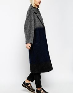 Enlarge ASOS WHITE Ombre Mohair Wool Mix Coat