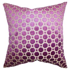 Pillow with a velvet geometric motif in magenta and a down fill.   Product: PillowConstruction Material: Velvet...