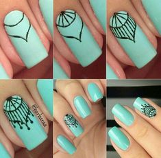 nail art tutorial * nail art designs ` nail art ` nail art videos ` nail art designs for spring ` nail art designs easy ` nail art designs summer ` nail art tutorial ` nail art diy New Nail Art, Nail Art Diy, Diy Nails, Nail Manicure, Nail Drawing, Angel Nails, Mandala Nails, Lace Nails, Stiletto Nails