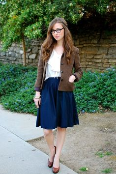 """I love full knee length skirts! They instantly make me feel like a lady. I've been dying to wear this Ralph Lauren blazer that I found at a thrift store for $6! My mom said my look was very """"East Coast professional"""" which I thought was very cute! blouse c/o Queen's Wardrobe, skirt J. Crew, …"""