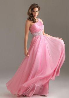 Monospalla A-line Perline Floor-length Chiffon Prom Dresses