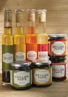 Packing designs for Williams-Sonoma's grilling drizzle and paste