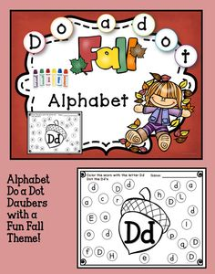 """Fall Themed A hands on fun activity for letter recognition that uses bingo daubers and crayons. Simply have students color the leaf, pumpkin or acorn and then """"do-a-dot"""" around as they seek and find the matching uppercase and lowercase letters."""