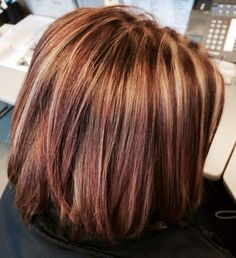 Brown hair with caramel highlights and red highlights, burgundy and ...