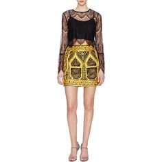 Candela Akira Cotton Embroidered Mini Skirt ($259) ❤ liked on Polyvore featuring skirts, mini skirts, gold, embroidered skirt, cotton skirt, evening skirts, short skirts and cocktail skirt