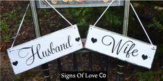 Wedding Sign Chair Hangers Wedding Decor Rustic Signs Husband Wife Bride Groom Mr Mrs Reception Photos Ideas Married Country Barn Beach