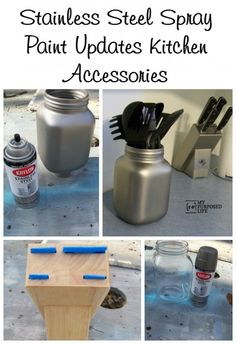 My Repurposed Life How to change up kitchen accessories with Krylon Stainless Steel Spray Paint