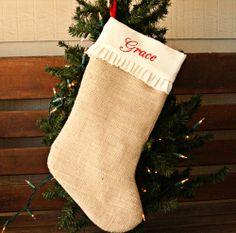 A lovely monogrammed burlap Christmas stocking.  Sweet!