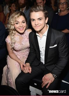 Recording artist Hunter Hayes (R) and Libby Barnes during the 50th Academy Of Country Music Awards at AT&T Stadium on April 19, 2015 in Arlington, Texas.