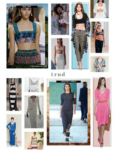 TRND SS18 Report - Key Items {Direction for the Contemporary, Young Contemporary, and Fast-Fashion market levels}  Shop the complete report here: http://www.thetrndforecast.com/new-products/trndspring2018forecast  #trends #trnd #thetrndforecast #spring2017 #runway #rtw #ss18 #contemporary #youngcontemporary #fastfashion #trendservice #bratops #crochetdress