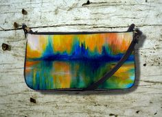 Clutch or Sling Bag Purse Abstract 14 orange blue from art painting L.Dumas by artbyLucie on Etsy