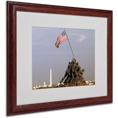 Trademark Fine Art Marine Corps Memorial Matted Framed Art by CATeyes, Size: 16 x 20, Multicolor