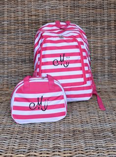 Personalized, Monogrammed, Backpack & Lunch Box, Pink Stripe by StitchedInStyle1 on Etsy