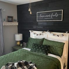 Featured Product: Luscious Black Weekend Walls, one of our newest colors! Lisa of @designbylovely redid her guest bedroom and added some gorgeous holiday accents.   #shiplap #blackwalls #blackwoodwalls #darkwoodwalls #holidaydecor #holidaybedroomdecor #bedroomdecorideas Rustic Bedroom Design, Bedroom Decor, Bedroom Designs, Rustic Wood Walls, Weathered Wood, Diy Design, Design Ideas, Indoor Air Quality, Black Walls