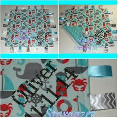 """Personalized Taggie Blanket: """"Oliver 11-11-14"""" ~Size: approx. 12"""" x 12"""" ~Fabric: Cotton (front), Minky (back)"""