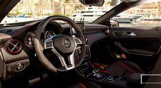 A look inside of the Mercedes-Benz A 45 AMG in Monte Carlo, Monaco. Photo: @marioroman_pictures . #mbtrip #monacotohamburg #cannes #hamburg #stuttgart #milano #zurich #swiss #a45amg #mercedesamg #mercedesbenz #mercedes #awd #power #speed #love #insane #canon #roadtrip #mbfanphoto #carporn #silver #sunrise #germany #italy #cotedazur #montecarlo