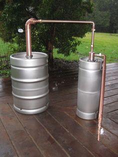 Beer Keg Whiskey Still - With Kegs - Piping — Moonshine Stills & Distillery Equipment Moonshine Still Plans, Copper Moonshine Still, Copper Pot Still, Copper Pots, Destilar Alcohol, Reflux Still, Distilling Equipment, Distilling Alcohol, Whiskey Still