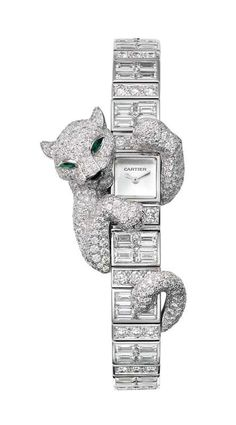 Cartier Fabuleux Baguette Panthère watch; case and bracelet in white gold set with brilliant-cut and baguette-cut diamonds.