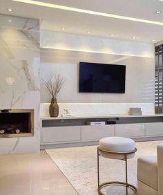 Dream Home Design, House Design, Modern Tv Unit Designs, Modern Tv Room, Luxury Interior, Interior Design, Hall Design, Aesthetic Rooms, Inside Design