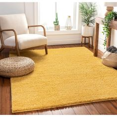Well Woven Madison Shag Piper Yellow Area Rug Rug Size: Rectangle x Mustard Yellow Bedrooms, Mustard Yellow Walls, Mellow Yellow, Bedroom Carpet, Living Room Carpet, Rugs In Living Room, Dining Rooms, Yellow Room Decor, Living Room Yellow
