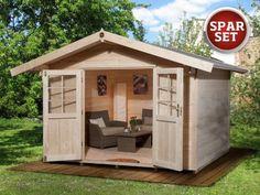 Gartenhaus Piet Plus --- 1.299,-€ --- B300xT295 cm, 28 mm, inkl. Dachschindeln und Boden, 70 cm Vordach. Auslaufartikel.