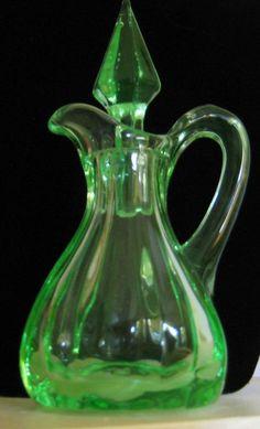 RARE Sweet Vintage Green Vaseline Glass Cruet by PSSecondHand, $25.00 - http://www.homedecoras.net/rare-sweet-vintage-green-vaseline-glass-cruet-by-pssecondhand-25-00