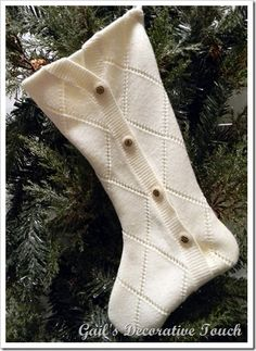 CHristmas stocking from old sweater