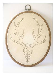 Deer antler skull embroidery hoop stag horns and bones hand