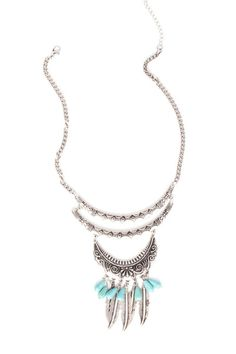 Five elemental rows give this necklace intriguing appeal and combine movement, texture, and color to make an exciting statement.