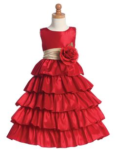 Ruffled Red and Champagne Girls Formal Holiday Dresses