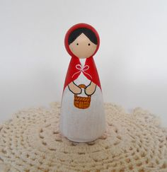 Little Red Riding Hood Peg Doll by 2HeartsDesire on Etsy