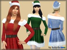 Dress Mrs. Claus by bukovka at TSR • Sims 4 Updates