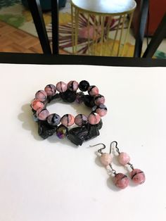 One Spiffy & Modest Rhodonite Gemstone Bracelet Complemented with a Dark & Rich Smokey Gemstone Bracelet with Matching Earrings - (The Price Listed is for two Bracelets & Earrings) - SKU# - VP-138