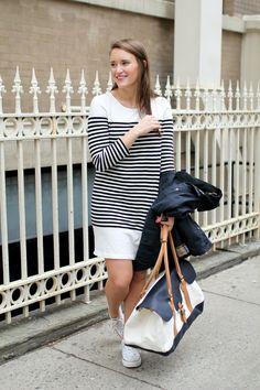 Navy Stripe Dress and LL Bean Weekender