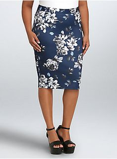 """<p>Killer curves lie ahead if you rock this floral print skirt. Form-fitting blue scuba fabric hugs you in all the right places. A zip back makes sure that this midi stays just where you want it. A subtle split hem puts just the right amount of skip in your step.</p>  <ul> <li>Size 1 measures 24 1/2"""" from center front</li> <li>Polyester/spandex</li> <li>Wash cold, dry flat</li> <li>Imported plus size skirt</li> </ul>"""