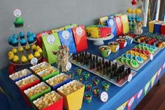 Kids Dessert Tables - Bliss Party Designs- I'm not a party thrower. Power Ranger Party, Power Ranger Birthday, Power Ranger Cake, Mario Birthday Party, Baby Boy 1st Birthday, 6th Birthday Parties, Birthday Ideas, Colorful Birthday Party, Mario Party