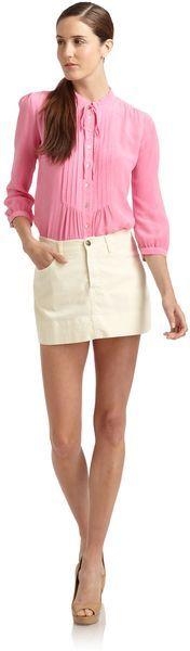 Just Cavalli White Denim Mini Skirt