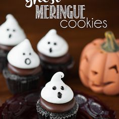 Ghost Meringue Cookies Recipe Desserts with egg whites, cream of tartar, sugar, pure vanilla extract, almond extract, decorating gel