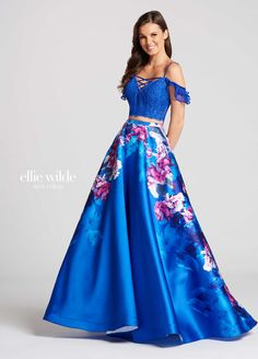 Style from Ellie Wilde for Mon Cheri is a formal Prom gown with an off-shoulder Lace top and floral Printed Mikado long skirt. Floral Prom Dresses, A Line Prom Dresses, Grad Dresses, Formal Dresses, Two Piece Gown, Sweet 16 Dresses, Lace Crop Tops, Evening Gowns, Beautiful Dresses