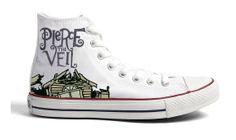 Pierce The Veil Shoes hand painted shoes Nike High Heels, High Top Sneakers, Mode Renaissance, Band Outfits, Hand Painted Shoes, Pierce The Veil, Band Merch, Shoe Art, Converse All Star