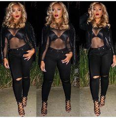 All BLACK! Sheer bodysuit, skinny jeans! Instagram : ms_boss4u