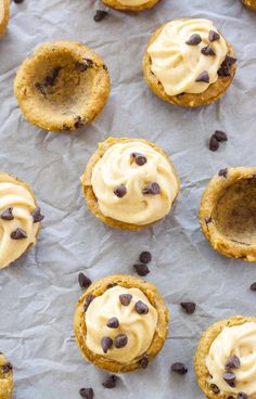 Pumpkin Chocolate Chip Cookie Cups with Pumpkin Cream Cheese Frosting | Pumpkin lovers will go crazy for these frosted mini cookie cups!