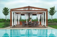 Looking for pergola design and ideas for your patio or backyard landscape? Famous pergola designs are wood pergola,freestanding or attached to house one. Diy Pergola, Pergola Retractable, Building A Pergola, Backyard Canopy, Pergola Canopy, Deck With Pergola, Covered Pergola, Pergola Shade, Beach Canopy