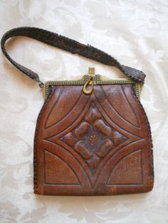 Arts and Crafts era  Leather Tooled mxs Purse 1918 via Etsy