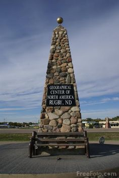 Rugby ND: This monument in Rugby marks the geographical center of North American Continent. North Dakota, North America, Roadside Attractions, Nebraska, Oklahoma, Kansas, United States, 50 States, Wyoming
