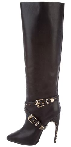 Black leather Emilio Pucci pointed-toe knee-high boots with tonal stitching, gold-tone hardware, stud accents at trim, covered heels and buckle closures at sides. Knee High Heels, Emilio Pucci, Riding Boots, Black Leather, Shoes, Women, Fashion, Horse Riding Boots, Moda