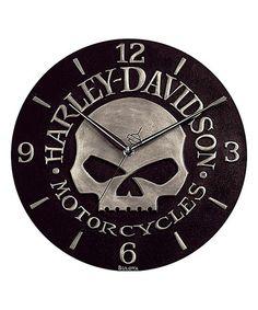 Black Harley Davidson Skull Wall Clock